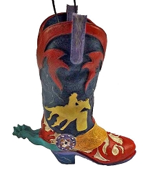 Wild West Rodeo Colorful Cowboy Boot Ornament- Barrel Racer
