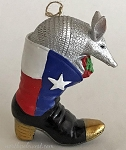 Armadillo Christmas Ornament- Armadillo in Cowboy Boot with Gift