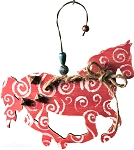 Red Swirl Horse Ornament