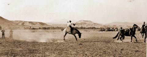 Vintage cowboy on bucking bronc rodeo picture