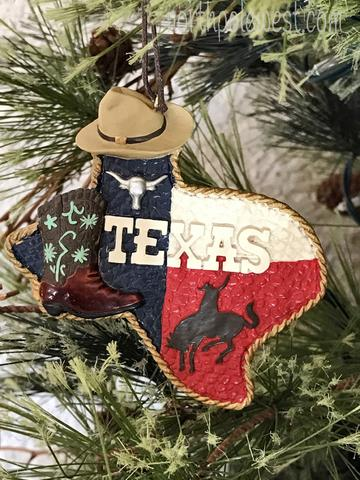 Texas map Christmas ornament with boot, longhorn and bronc rider