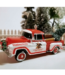Budweiser Red & White Pickup Truck Ornament