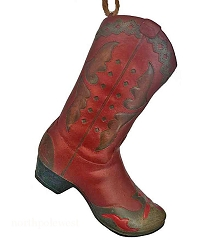 Cowboy Christmas Ornament - Cowboy Boot - Dusty Red