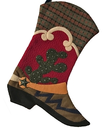 Cowboy Boot Stocking - Prickley Pear Cactus Design-