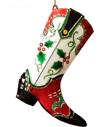 Pretty Painted Cowboy Boot Ornament