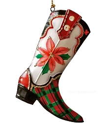 Pretty Painted Poinsettia Cowboy Boot Ornament