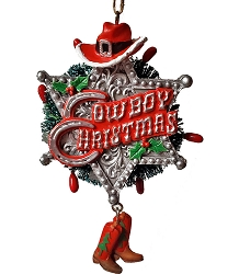 Cowboy Christmas Badge with Hat Ornament