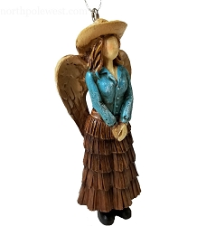Pretty Cowgirl Angel Wearing Skirt Ornament