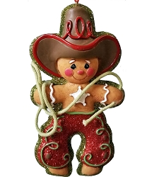 Adorable Gingerbread Cowboy Christmas Ornament