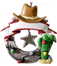 Horseshoe, Saguaro, Cowboy Hat & Christmas Lights Ornament-
