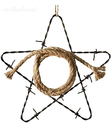 Barbed Wire Star with Lasso Ornament -