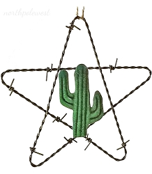 Barbed Wire Star with Cactus Ornament -