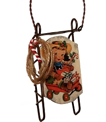 Cowgirl Christmas Sled Ornament