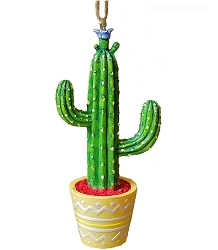 Colorful Saguaro Potted Cactus Southwestern Ornament