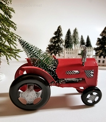 Vintage Style Christmas Tree Tractor Ornament