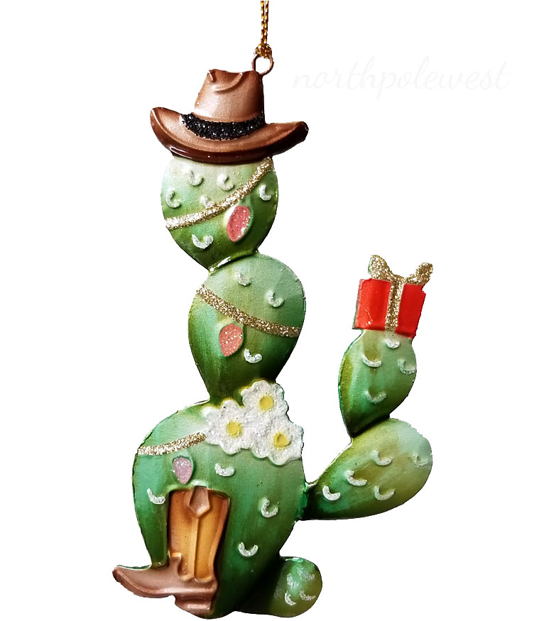 Cactus Christmas Tree.Cowboy Prickly Pear Cactus Christmas Ornament