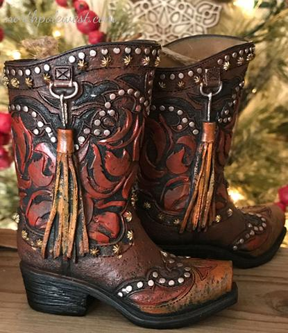 Studded brown cowboy boot Christmas ornaments