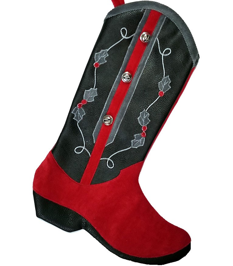 Cowboy Boot Christmas Stocking, Red and Black-