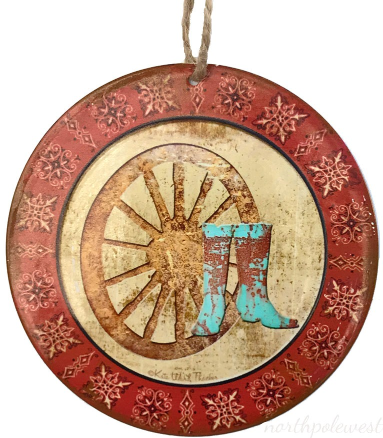 Cowboy Boots and Wagon Wheel Christmas Ornament