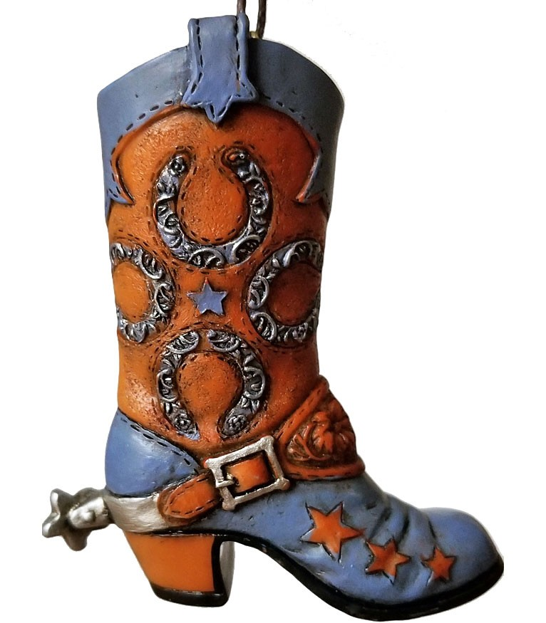 Cute Cowboy Boot Ornament with Horseshoe Design