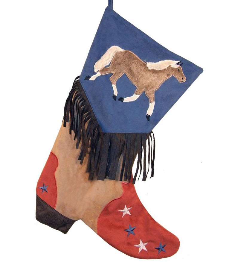 Cowboy Boot Christmas Stocking - Blue with Horse Design
