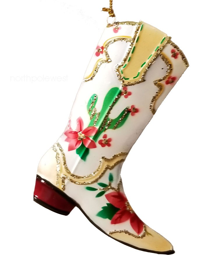 Pretty Painted Saguaro Cowboy Boot Ornament