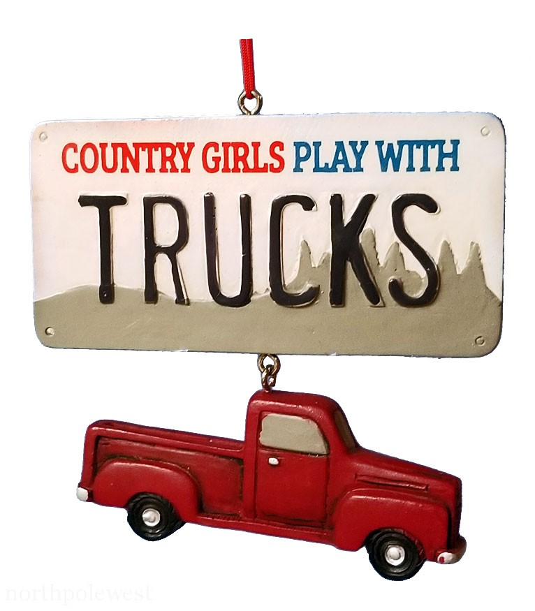 Pick Up Truck Country Cowgirl Christmas Ornament