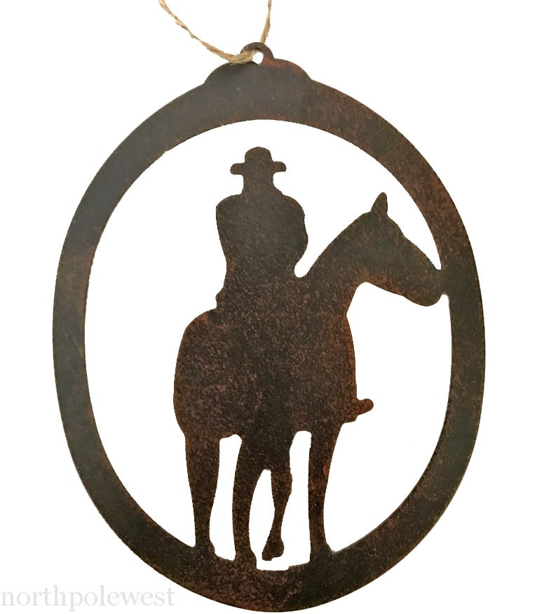 'Cowboy On Horse' Oval Ornament