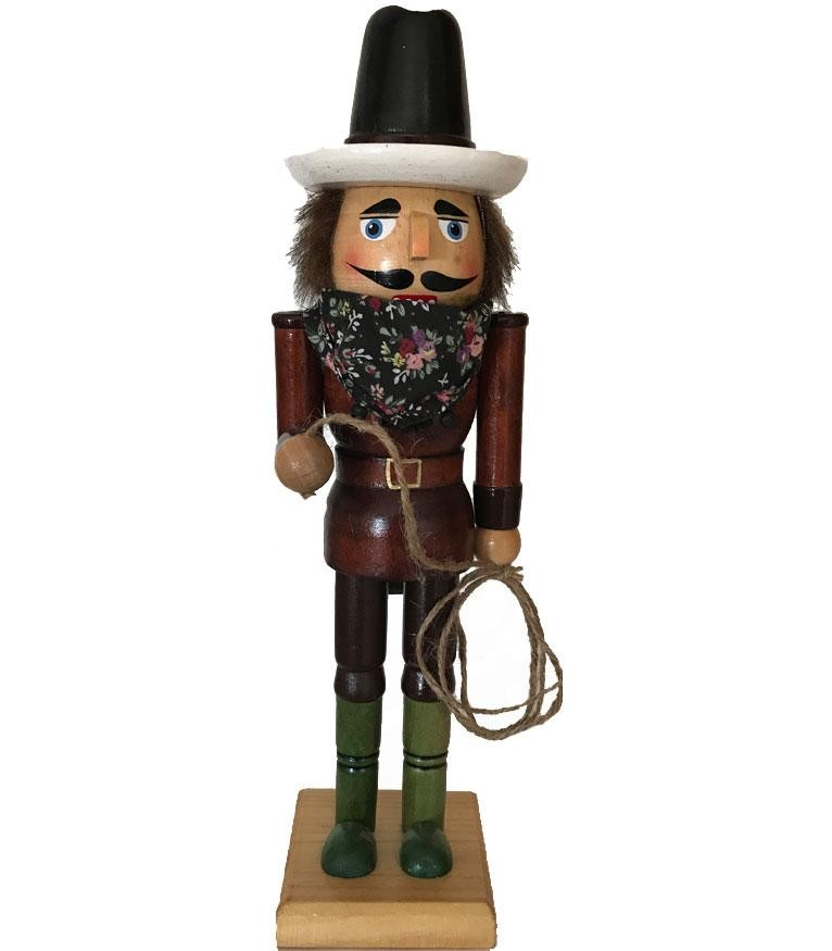 Cowboy Christmas Nutcracker with Lasso and Floral Bandana