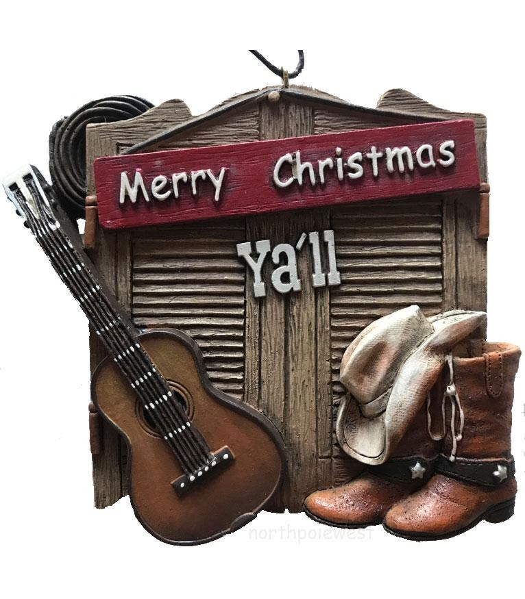 Cowboy Christmas Ornament - Barn Door Merry Christmas Y'all
