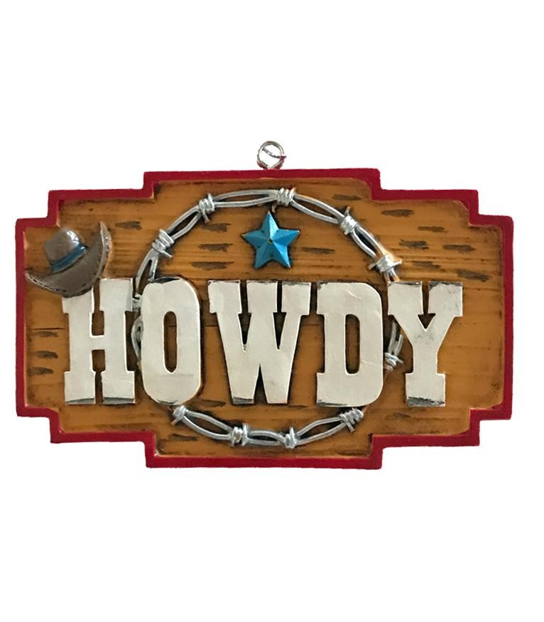 Cowboy Christmas Ornament - Howdy Sign