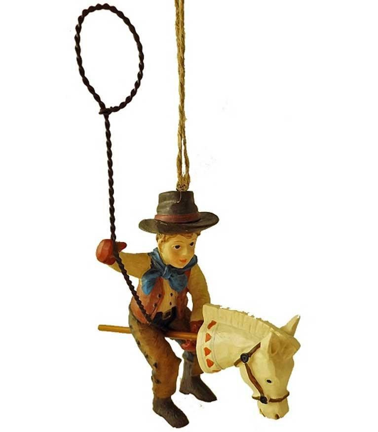 Cowboy Christmas Ornament -Vintage Cowboy with Stick Pony & Lasso