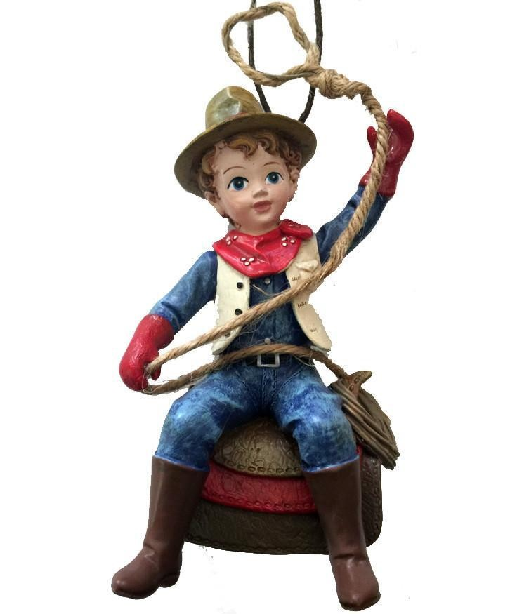 Cowboy Christmas Ornament- Child with on Saddle - Cowboy