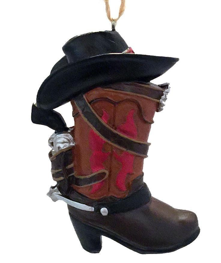 Cowboy Christmas Ornament- Cowboy Boot with Black Cowboy Hat