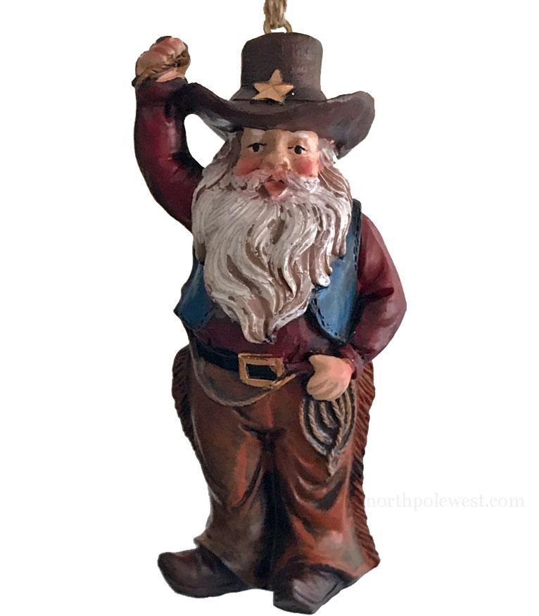 Cowboy Santa with Lasso Christmas Ornament