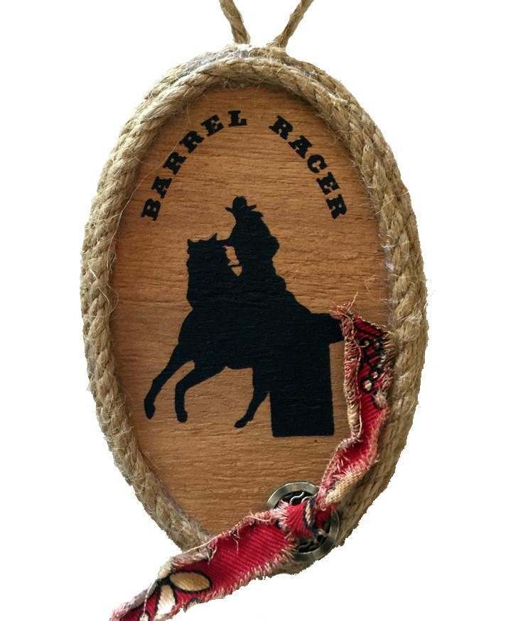 Cowgirl Christmas Ornament - Barrel Racer