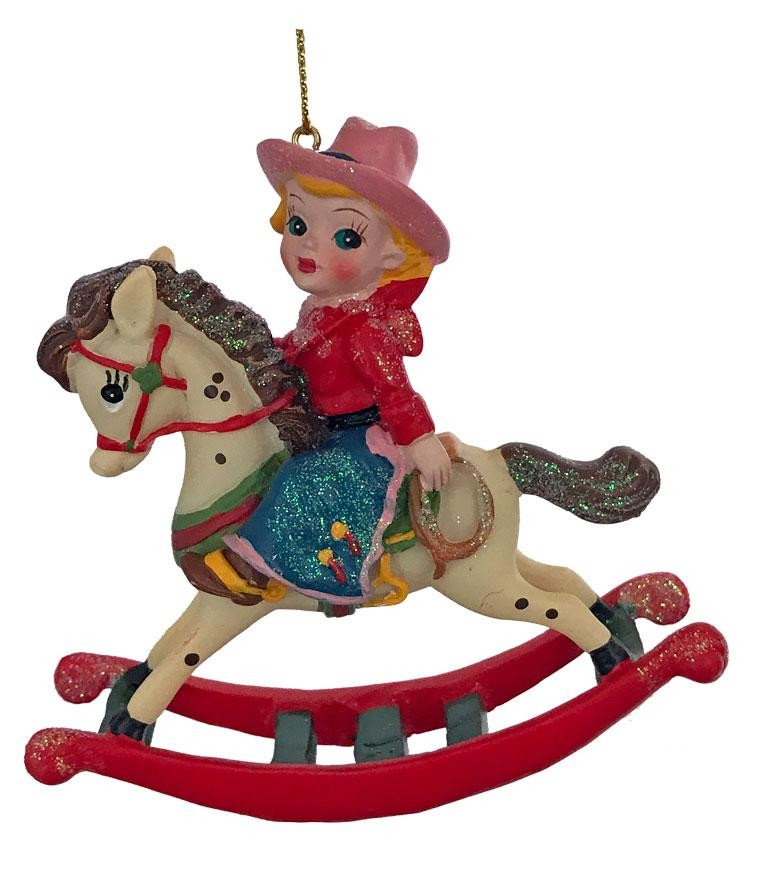 Cowgirl Christmas Ornament-Vintage Style-Cowgirl on Rocking Horse