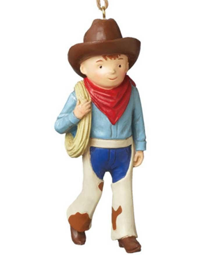 Cute Cowboy Kid Ornament with Chaps and Lasso