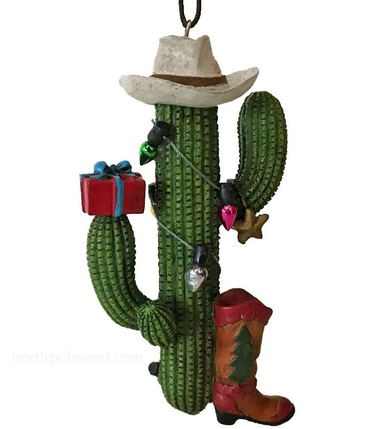 Cute Saguaro Christmas Ornament with Cowboy Boot