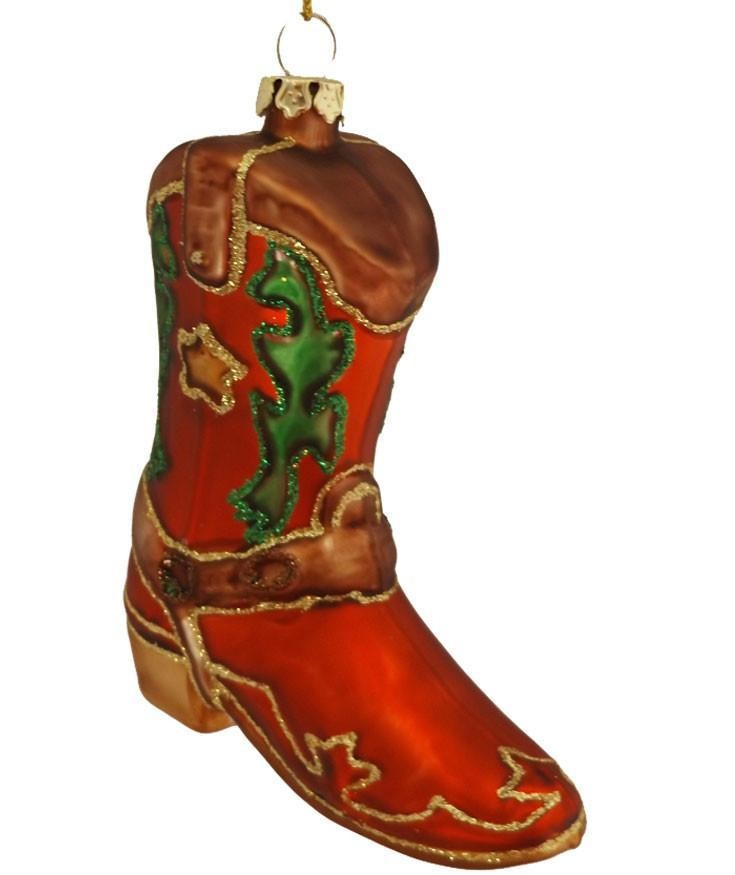 Glass Cowboy Boot Ornament with Star