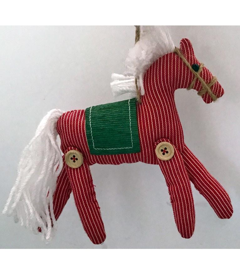 Horse Christmas Ornament - Red & White -