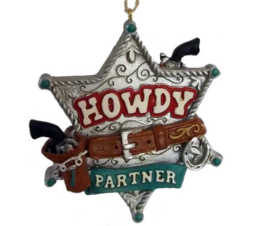 Howdy Pardner Marshall Star Cowboy Christmas Ornament