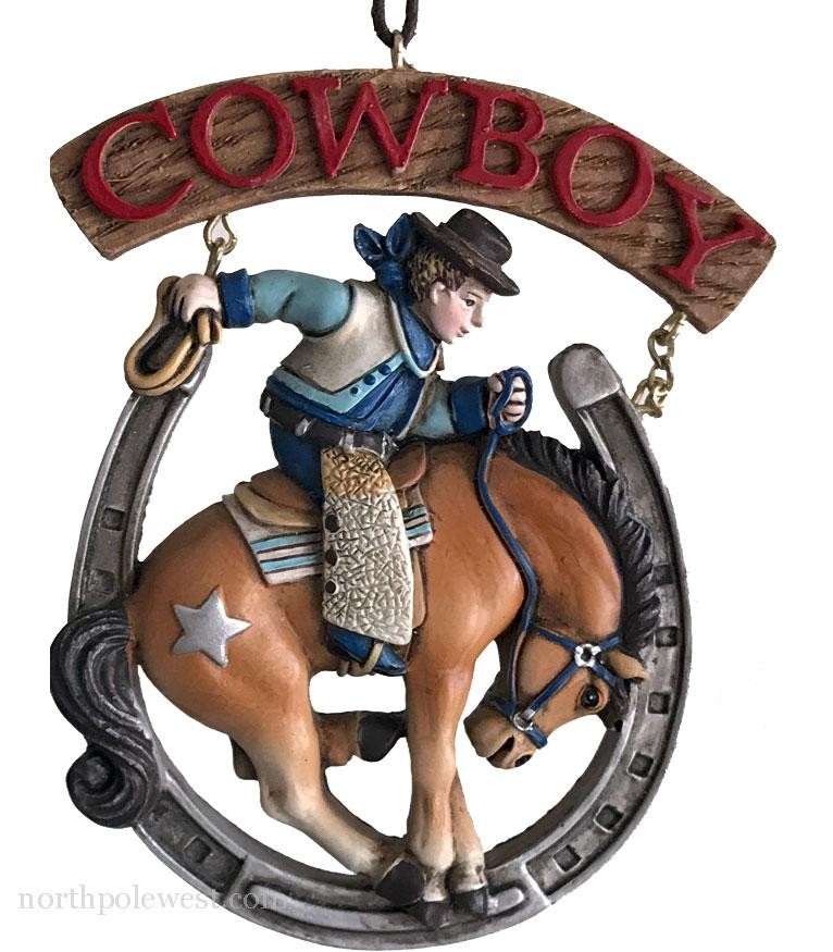 Lucky Rodeo Cowboy Ornament - Cowboy on Bronc in Horseshoe