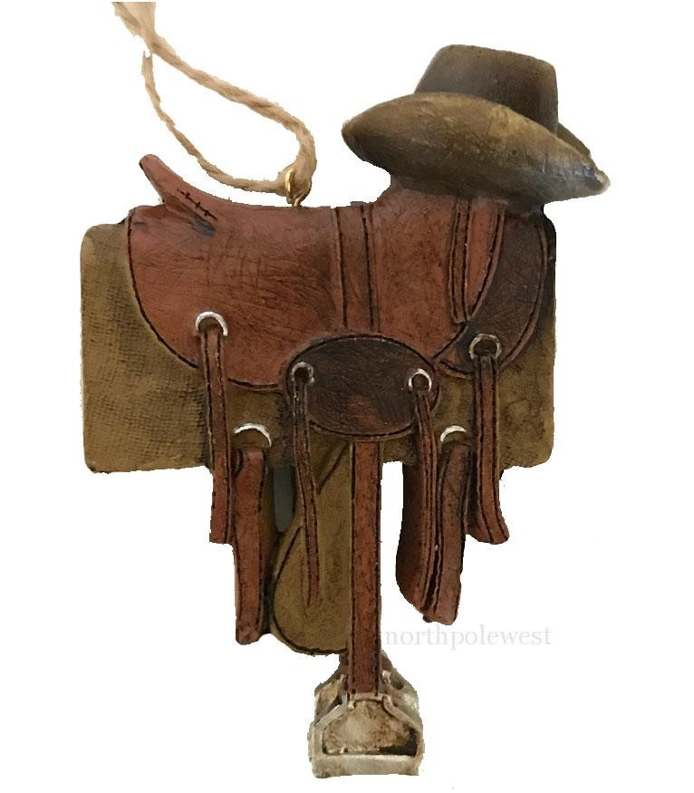 Old West Saddle with Cowboy Hat Ornament