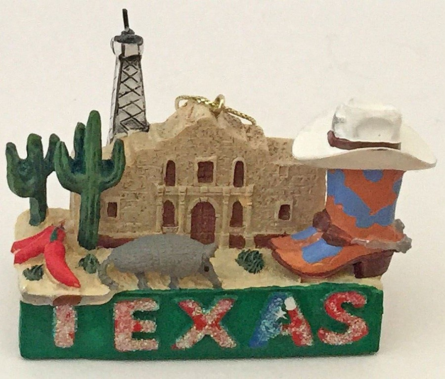 Texas Armadillo, Oil Well & Alamo Ornament -  Sale