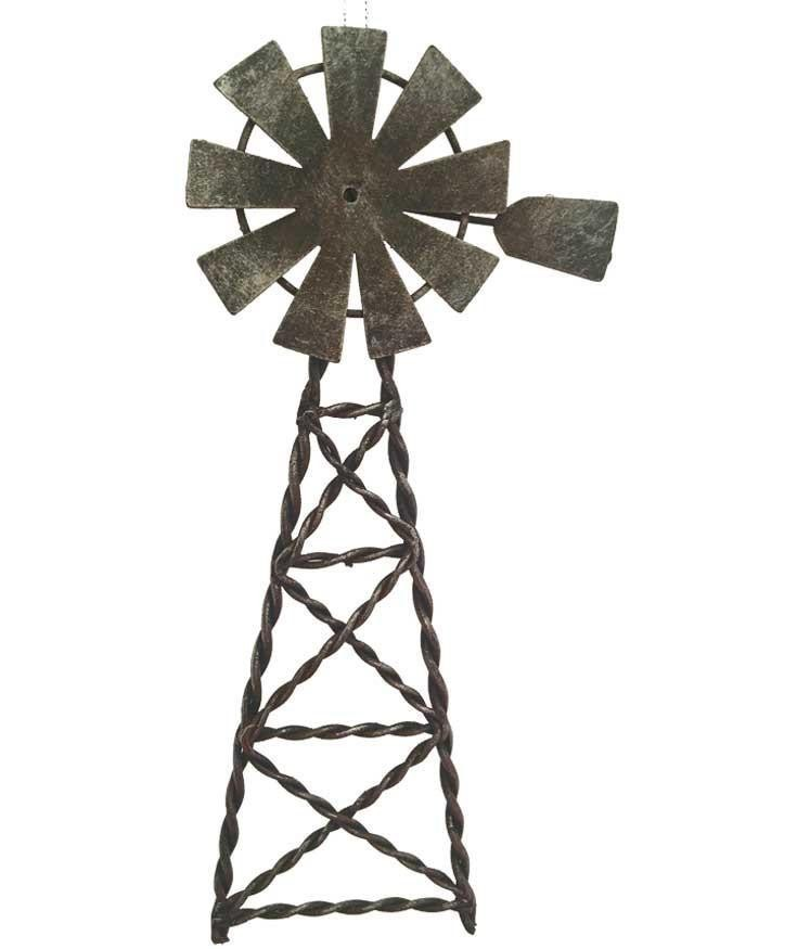 Western Christmas Ornament - Tin Windmill