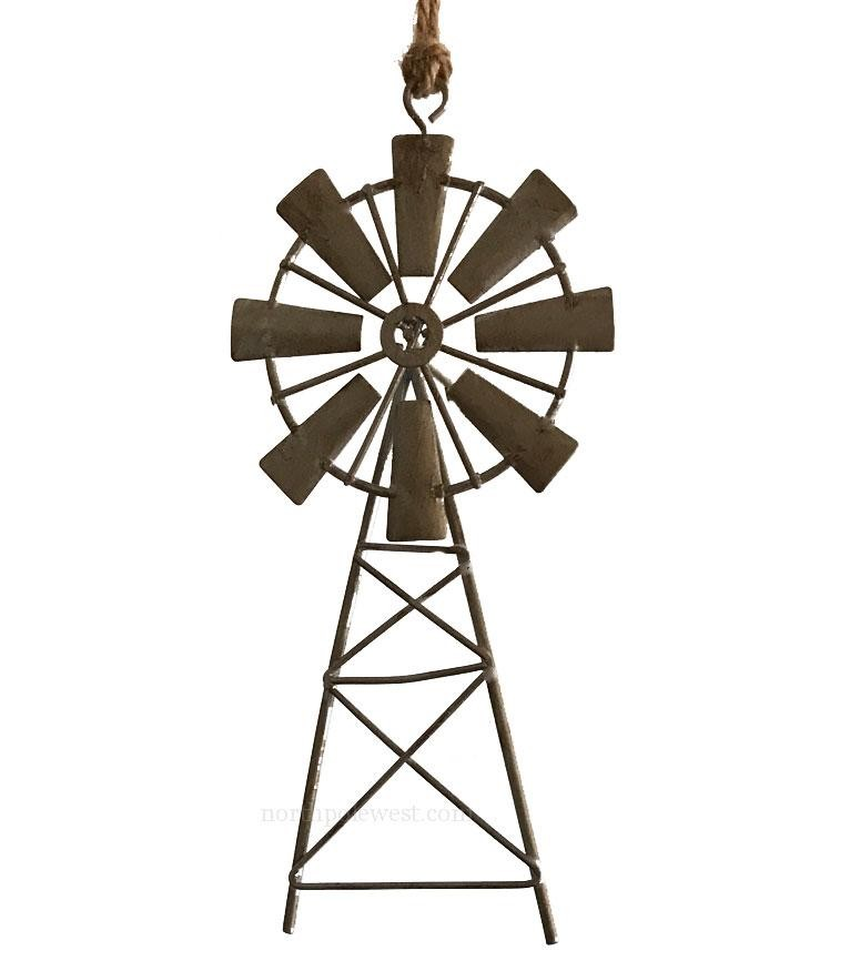 Western Christmas Ornament - Tin Windmill 2
