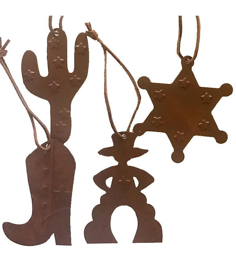 Western Christmas Ornament Set- Cowboy, Saguaro, Badge, Cowboy Boot