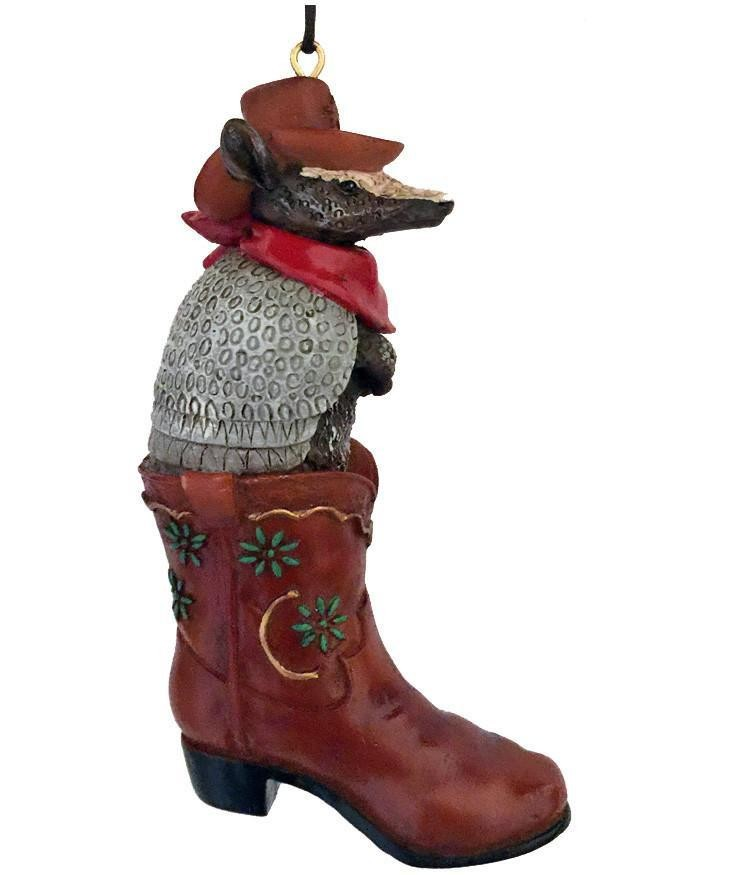 Western Christmas Ornament- Armadillo in Boot - Hop a Long