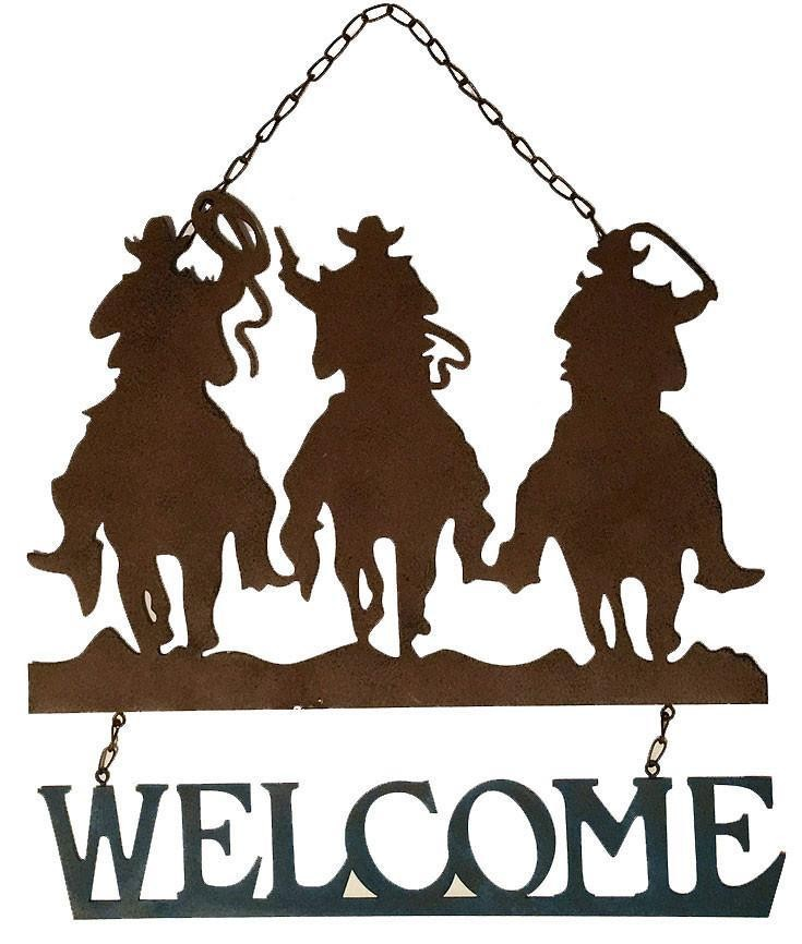 Western Welcome Sign - 3 Cowboys